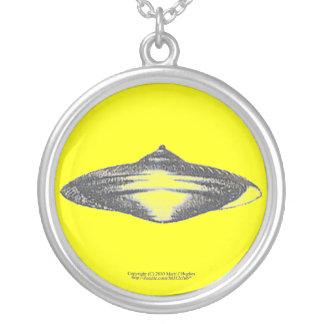 Martian Flying Saucer MCC-4890 Lightspeedster HRL Round Pendant Necklace