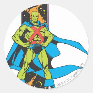 Martian Manhunter & Space Backdrop Round Sticker