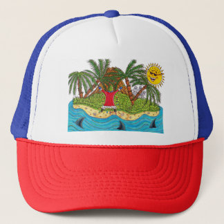 Martin and the desert island paradise trucker hat