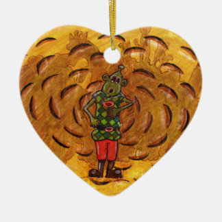 Martin in the dust cloud ceramic heart decoration