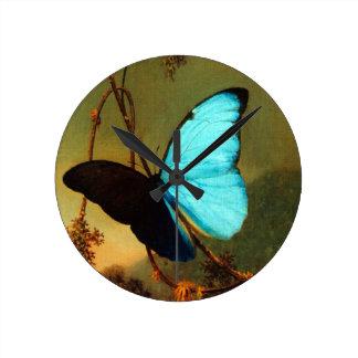 Martin Johnson Heade Blue Morpho Butterfly Wall Clock