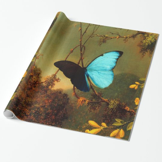 Martin Johnson Heade Blue Morpho Butterfly Vintage Wrapping