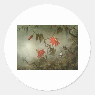 Martin Johnson Heade Passion Flowers and Hummingbi Round Stickers