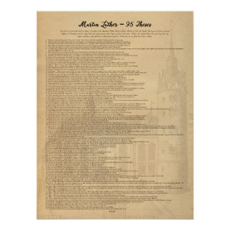 Martin Luther 95 Theses (Eng) Wittenberg Church Poster