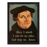Martin Luther - Here I Stand Quotation Postcard