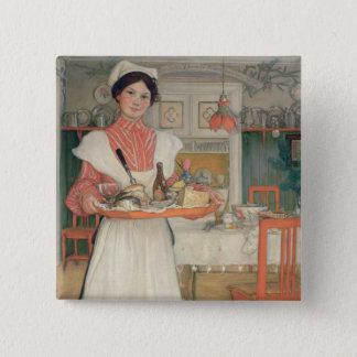 Martina Carrying Breakfast on a Tray, 1904 15 Cm Square Badge