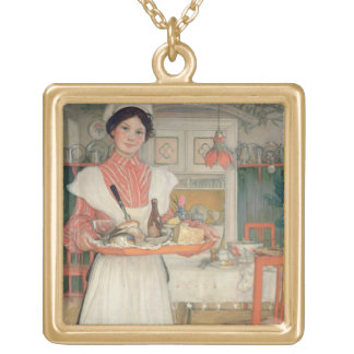 Martina Carrying Breakfast on a Tray, 1904 Gold Plated Necklace