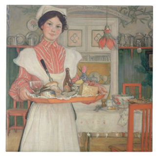 Martina Carrying Breakfast on a Tray, 1904 Large Square Tile