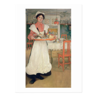 Martina Carrying Breakfast on a Tray, 1904 Postcard