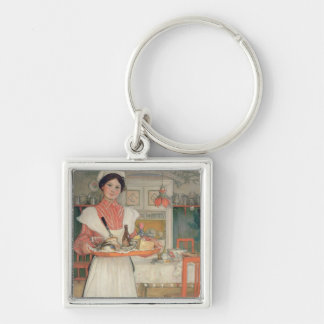 Martina Carrying Breakfast on a Tray, 1904 Silver-Colored Square Key Ring