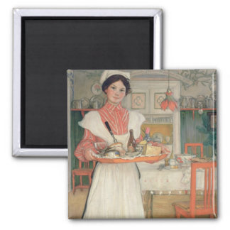 Martina Carrying Breakfast on a Tray, 1904 Square Magnet