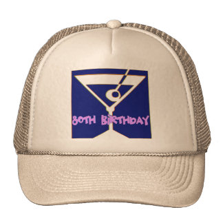 Martini 80th Birthday Gifts Mesh Hat