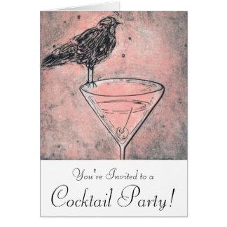 Martini Bird Bath Cocktail Party Invite Note Card
