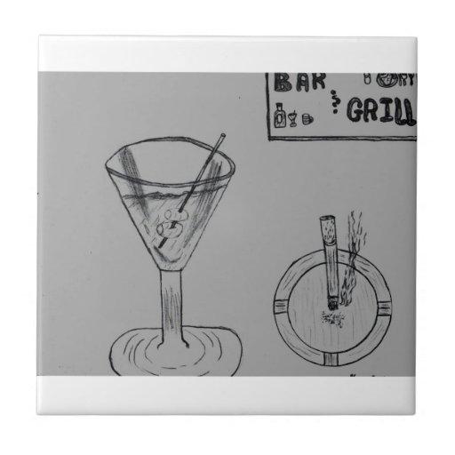 Martini Break At The Bar And Grill Ceramic Tile