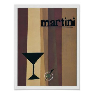 Martini (brown Stripes) Poster