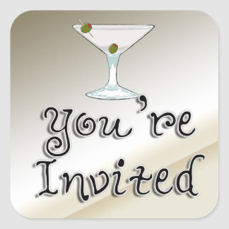 Martini Cocktail Party Invitation envelope seal