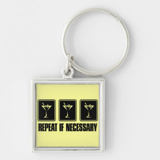 Martini Drink Signs - Repeat if Necessary Silver-Colored Square Key Ring