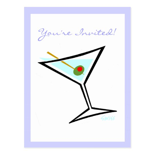 Martini Glass and Green Olive Cocktail Party Postcard