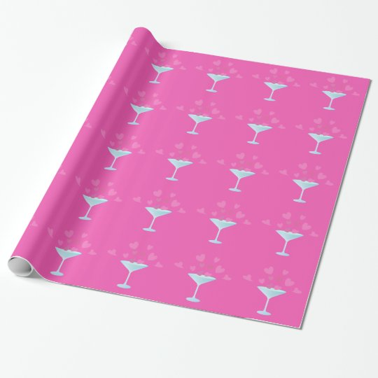 Martini Glass and Pink Hearts Wrapping Paper
