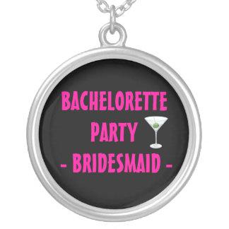 Martini Glass Bachelorette Party Pink Bridesmaid Round Pendant Necklace