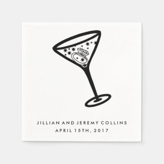 Martini Glass Engagement or Wedding Napkins Paper Napkin