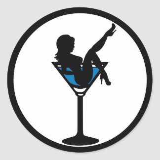 Martini glass girl silhouette blue drink stickers