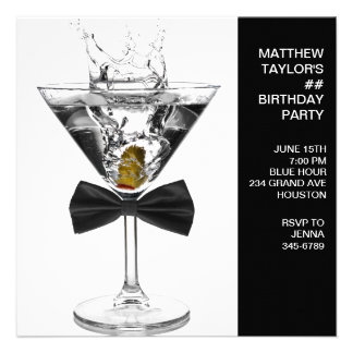 Martini Glass Mans Any Number Birthday Party Personalized Announcements