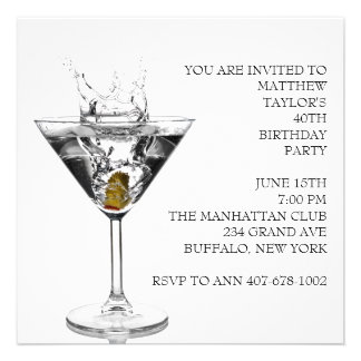 Martini Glass Mans Birthday Party Announcements