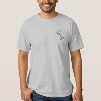 Martini Glass Outline Embroidered T-Shirt