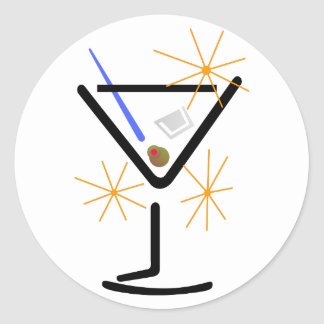 Martini Glass Round Sticker