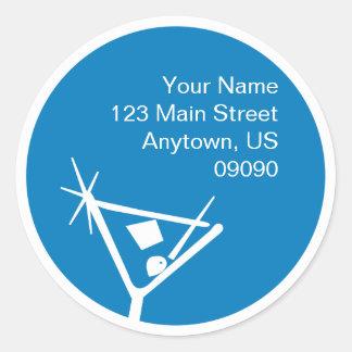 Martini Glass Silhouette Address Label (Blue)