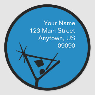 Martini Glass Silhouette Address Label (Blue) Round Sticker