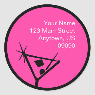 Martini Glass Silhouette Address Label (Pink) Round Sticker