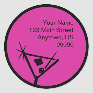 Martini Glass Silhouette Address Label (Raspberry) Round Sticker