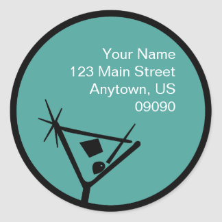 Martini Glass Silhouette Address Label (Teal) Round Sticker