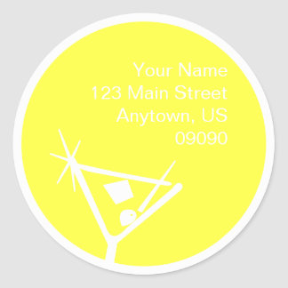 Martini Glass Silhouette Address Label (Yellow) Round Sticker