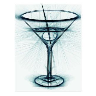 Martini Glass Sketch Postcard