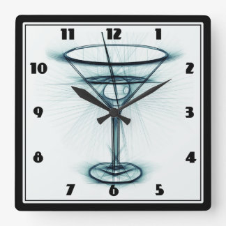 Martini Glass Sketch Square Wall Clock