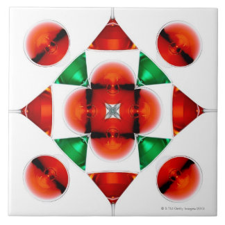 Martini glass snowflake large square tile