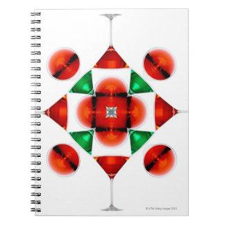 Martini glass snowflake notebooks