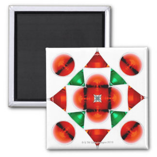 Martini glass snowflake square magnet