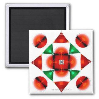 Martini glass snowflake square magnet