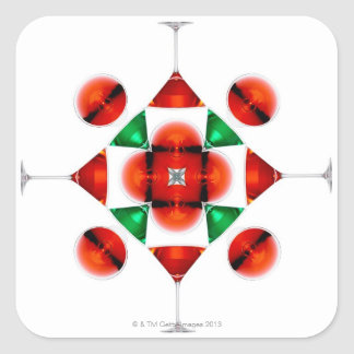 Martini glass snowflake square sticker