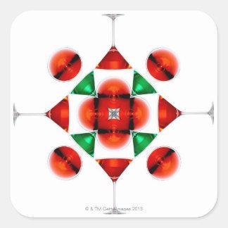 Martini glass snowflake square sticker