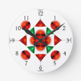 Martini glass snowflake wallclock