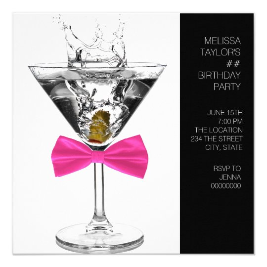 Martini Glass Womans Any Number Birthday Party Card