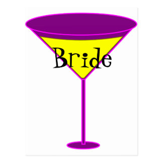 Martini Glasses Bride Postcard