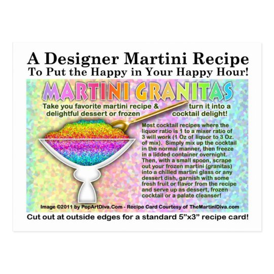 Martini Granitias Recipes Postcard