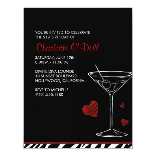 martini | love/ heart; birthday party card