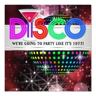 Martini Mirror Ball Disco Party 13 Cm X 13 Cm Square Invitation Card